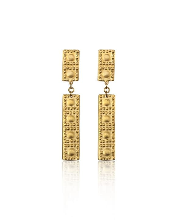 Gold-bar drop earrings inspired by ancient Greek heritage from Telescope Style.