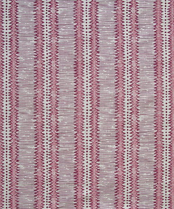 Linen striped cushion fabric in a pretty, muted pink hand-print inspired by motifs on a West African artefact.