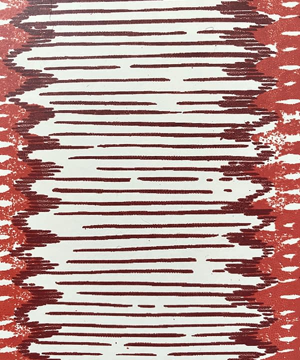 Detail of a striped red wallpaper inspired by West African patterns.