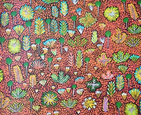 'Daisy' in brown Aboriginal art wallpaper, from Telescope Style.