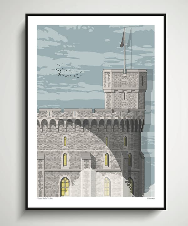 A Windsor Castle print that is an architecturally-accurate line drawing of a section of this iconic Royal residence.