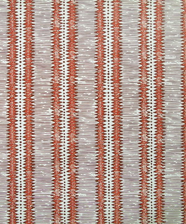 Red striped wallpaper in Porphery inspired by a Yaruban ceremonial mask from West Africa.