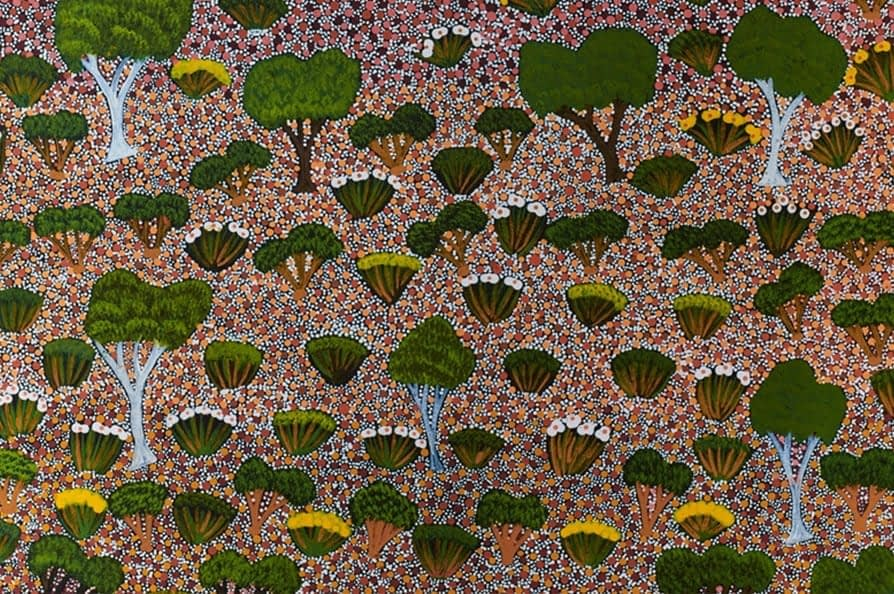 'Lilly' botanical Aboriginal dot painting wallpaper available through Telescope Style.