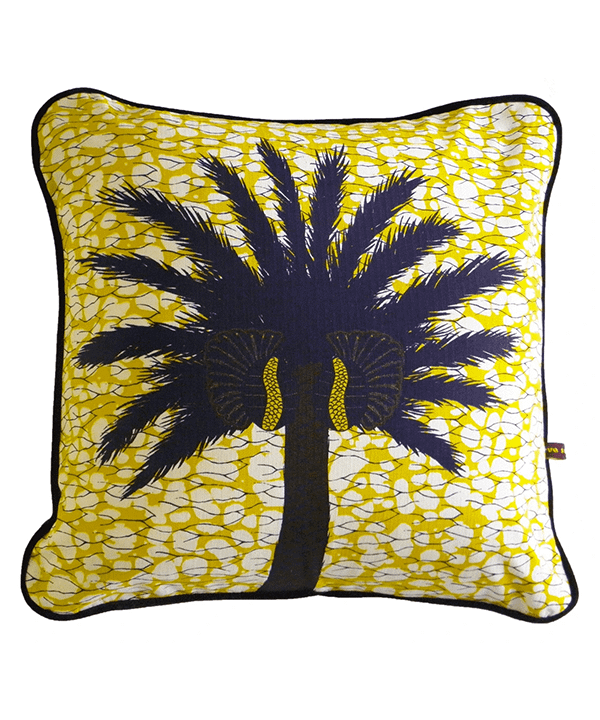 Palm tree cushion covers with a yolk yellow ground.