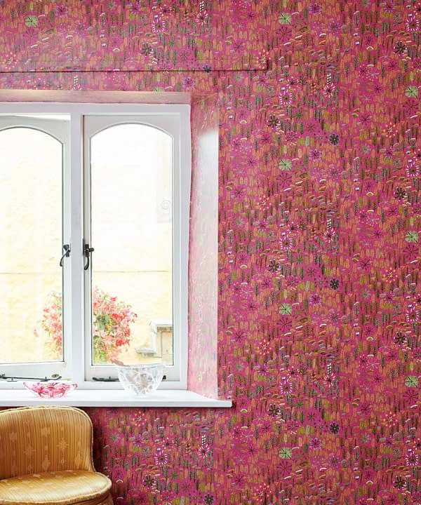 A styled, in situ shot around a window of 'Betty' Aboriginal culture wallpaper in pink.