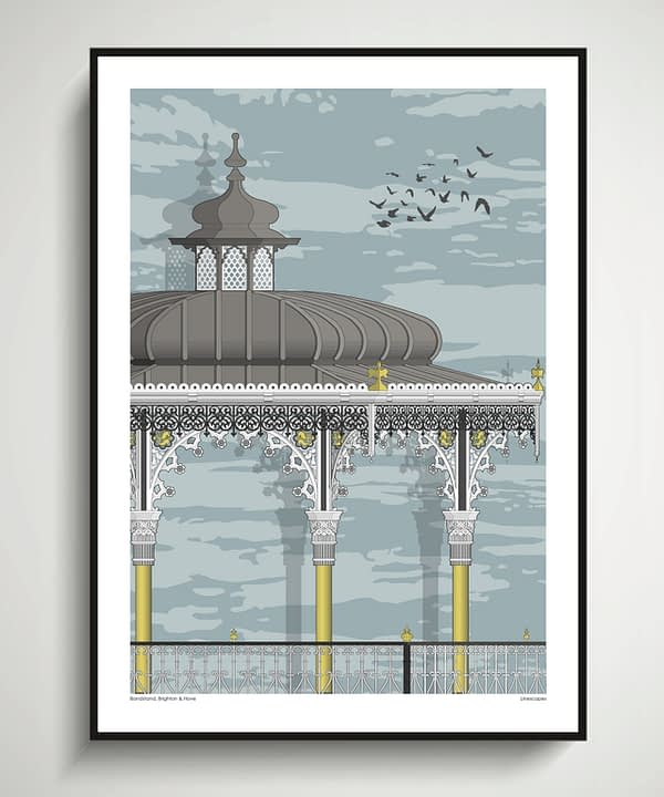 Wall art print of iconic, Victorian, seaside architecture. The Brighton bandstand is one of the finest examples of its kind in the UK today.