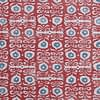 Red patterned cushions fabric 'Iznik' hand-printed linen - a Middle Eastern-inspired design.