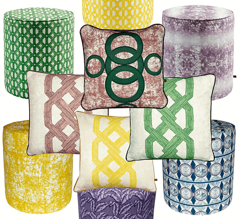 A collection of modern African print cushions and pouffes available to order online from Telescope Style.