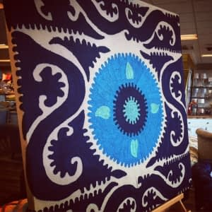 Global design as evidenced by this striking blue, crewel-work, ethnic textile as canvas wall art.
