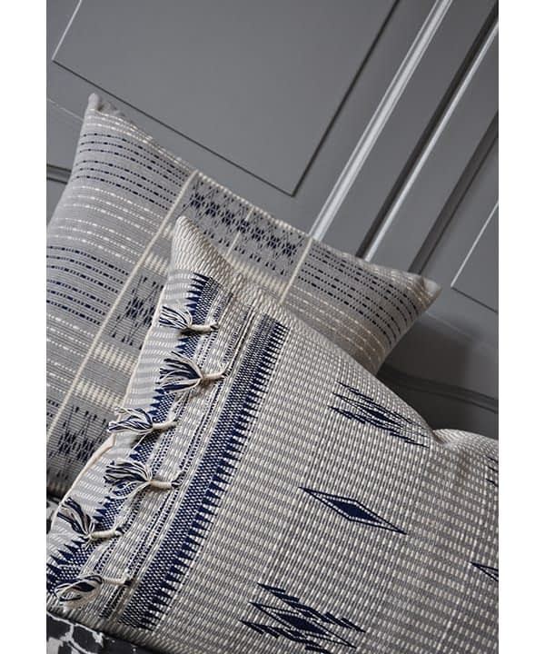 Blue grey cushion covers with tassels, handmade in Nagaland, India from Telescope Style.