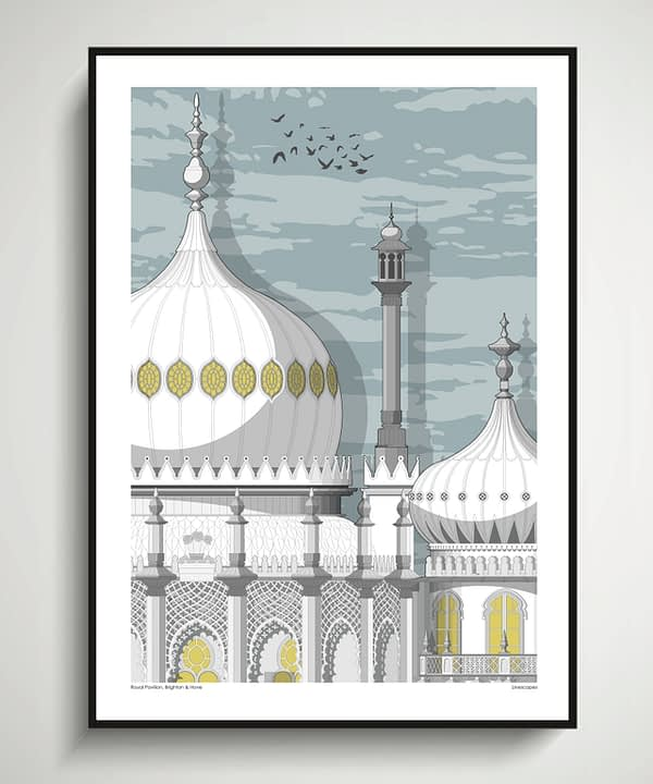 Brighton art architectural print of the seaside city's famous Pavilion.
