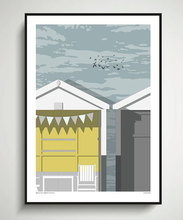 A beach huts wall art print with a modernist feel, inspired by Brighton seafront.