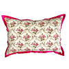 Vintage floral cushions with trellis design and hot pink, silk trim.