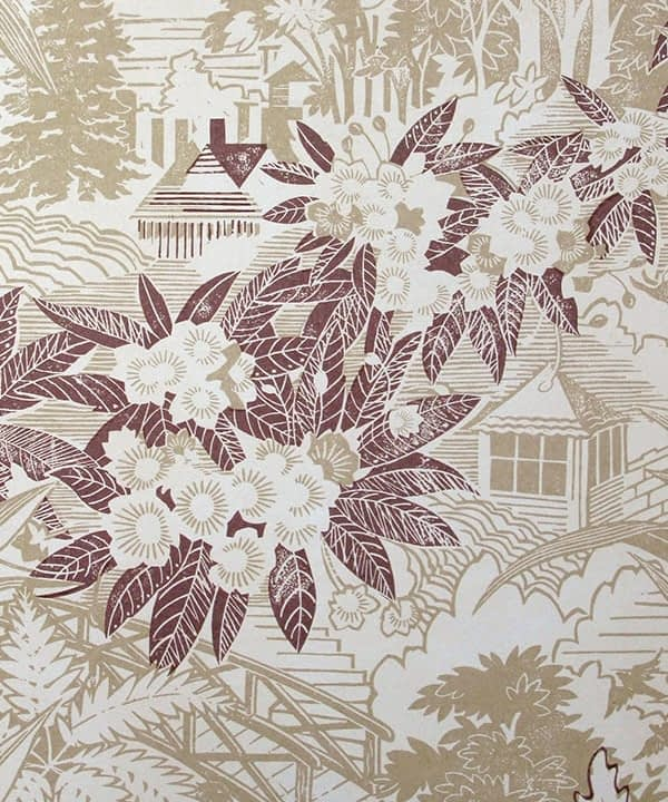 Detail of Webb's Wonder neutral floral wallpaper in the 'Stone' colourway.