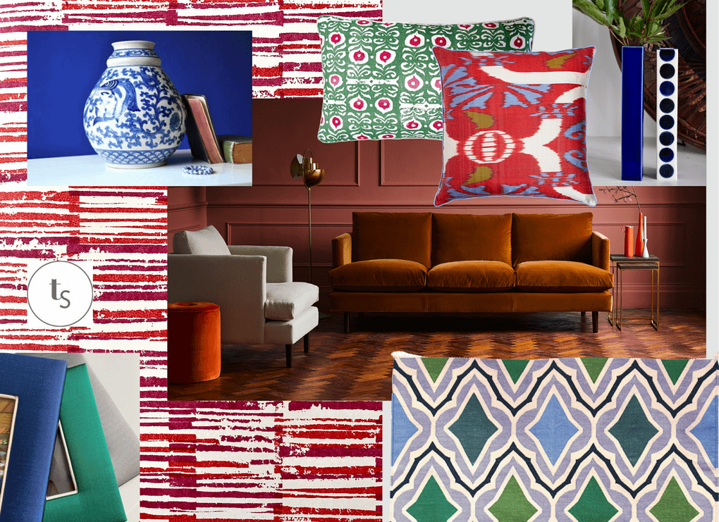 Red living room ideas with an Asian flavour and cool, green and blue accents.