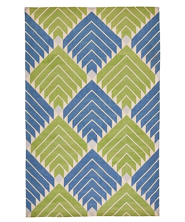 Blue and green rug with flèche diamond design.
