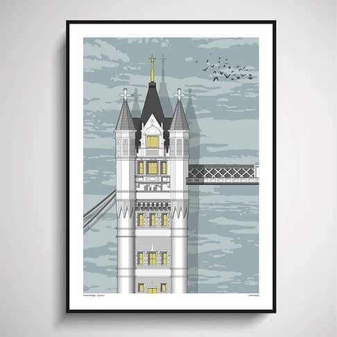 Detail of a line drawing of Tower Bridge in London.