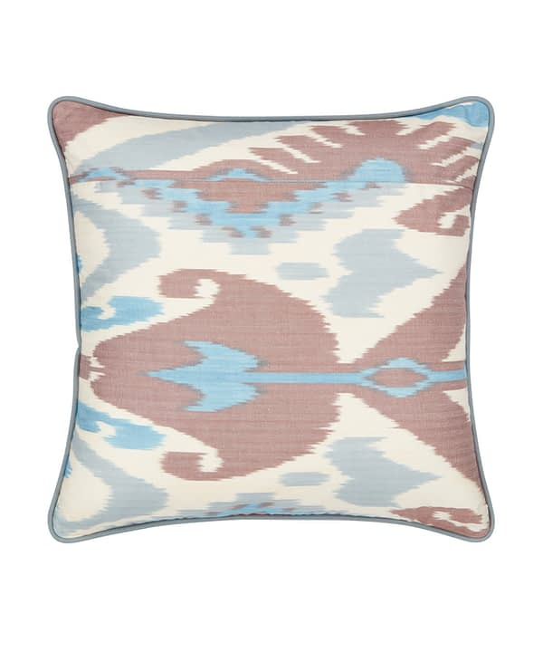 Terracotta and blue cushions in hand-woven, luxury, silk Ikat.
