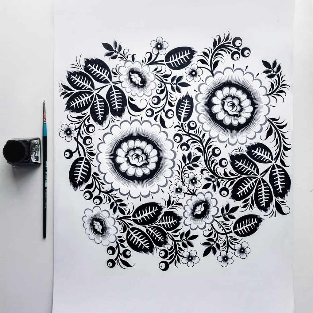 A traditional pen and ink Russian folk art design inspired by Khokhloma-ware.