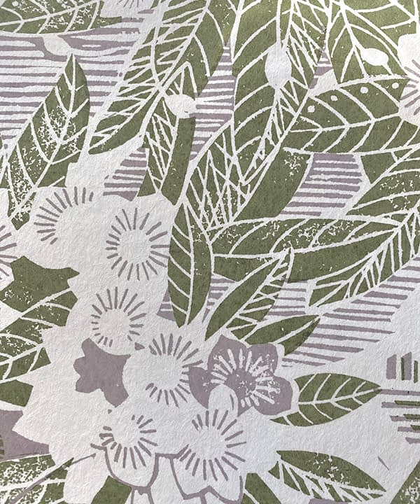 Lilac wallpaper detail with green accents depicting a rural garden setting.