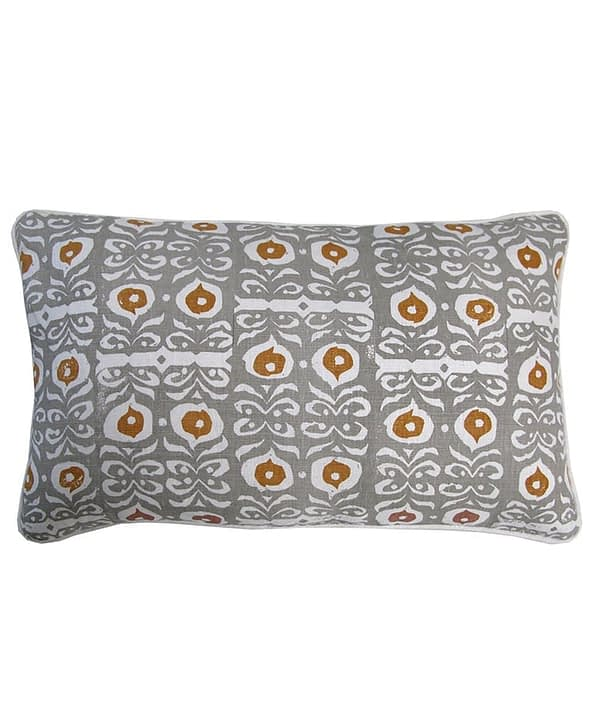 A chic, rectangular, Eau de Nil cushion with mustard yellow accents in hand-printed linen.